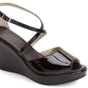 AGL Black 'poppy' Patent Peep Toe Wedge Sandal